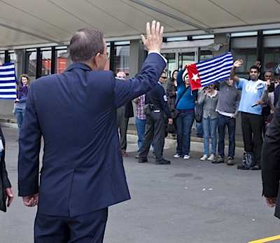 Ban Ki-moon waves to protestors for West Papua, PIF NZ Sept 2011