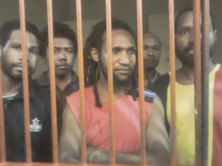 The KNPB Timika 6 back in their cells, photo taken April 17, after trial hearing. From L-R, (photo KNPB/ West Papua Media)
