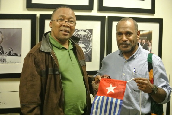 South African civil resistance leader Mkuseli (Khusta) Jack with West Papuan campaigner Benny Wenda after dedicating his award to the West Papuan struggle. (Photo: J. MacLeod for West Papua Media)