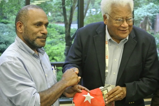 Rev. James Lawson and Benny Wenda. (Photo: J. MacLeod for West Papua Media
