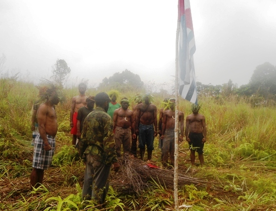 West Papuan Flag Raising on August 17, 2013, atop Mount Syclop outside  Sentani, rejecting Indonesian independence celebrations. (Photo: supplied directly to West Papua Media)