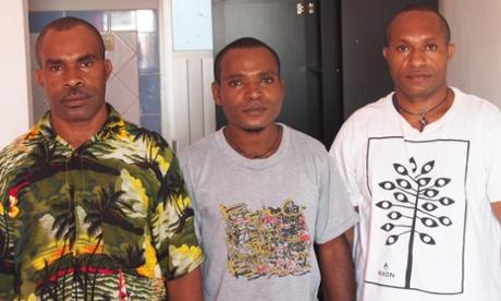 West Papuan student activists Rofinus Yanggam (left), Yuvensius Goo and Markus Jerewon (right) left the Australian consulate in Bali Sunday. Image: Marni Cordell