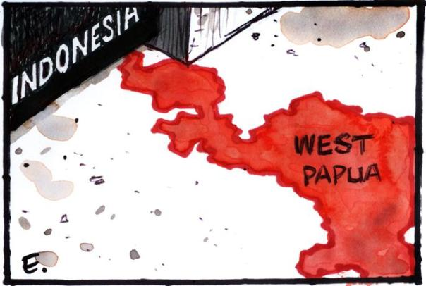 "West Papua: ""still off limits to foreign journalists and human rights"". Cartoon: © Malcolm Evans / PJR"