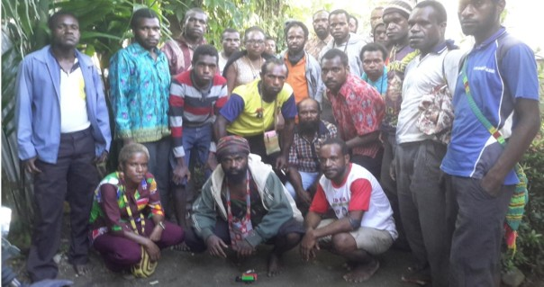 Picture of 32 Papuans that was arrested by the Police in Nabire, Papua. The picture was taken after they were released from Nabire District Police office. When they were arrested they were not allowed to take pictures. Source : JPIC KINGMI Nabire.