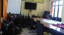 high spirited KNPB members being held at Police headquaters in Jayapura